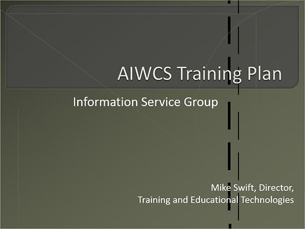 training plan briefing presentation